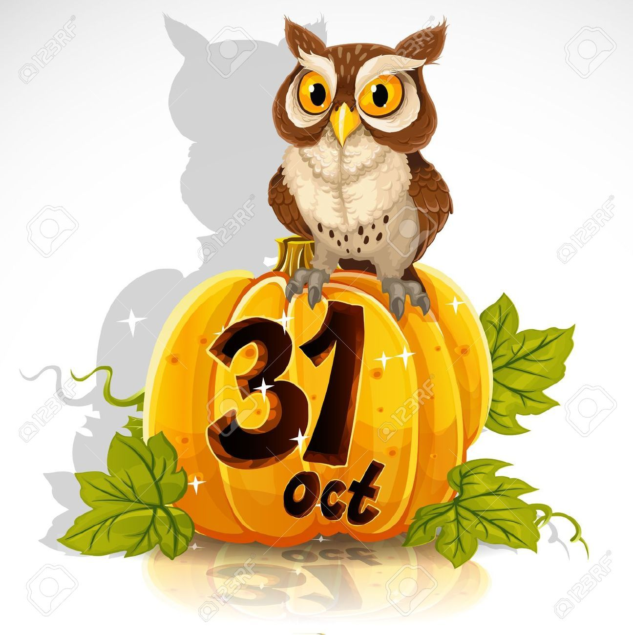 15743918-Wise-owl-sit-on-a-pumpkin-Halloween-Party-October-31 ...