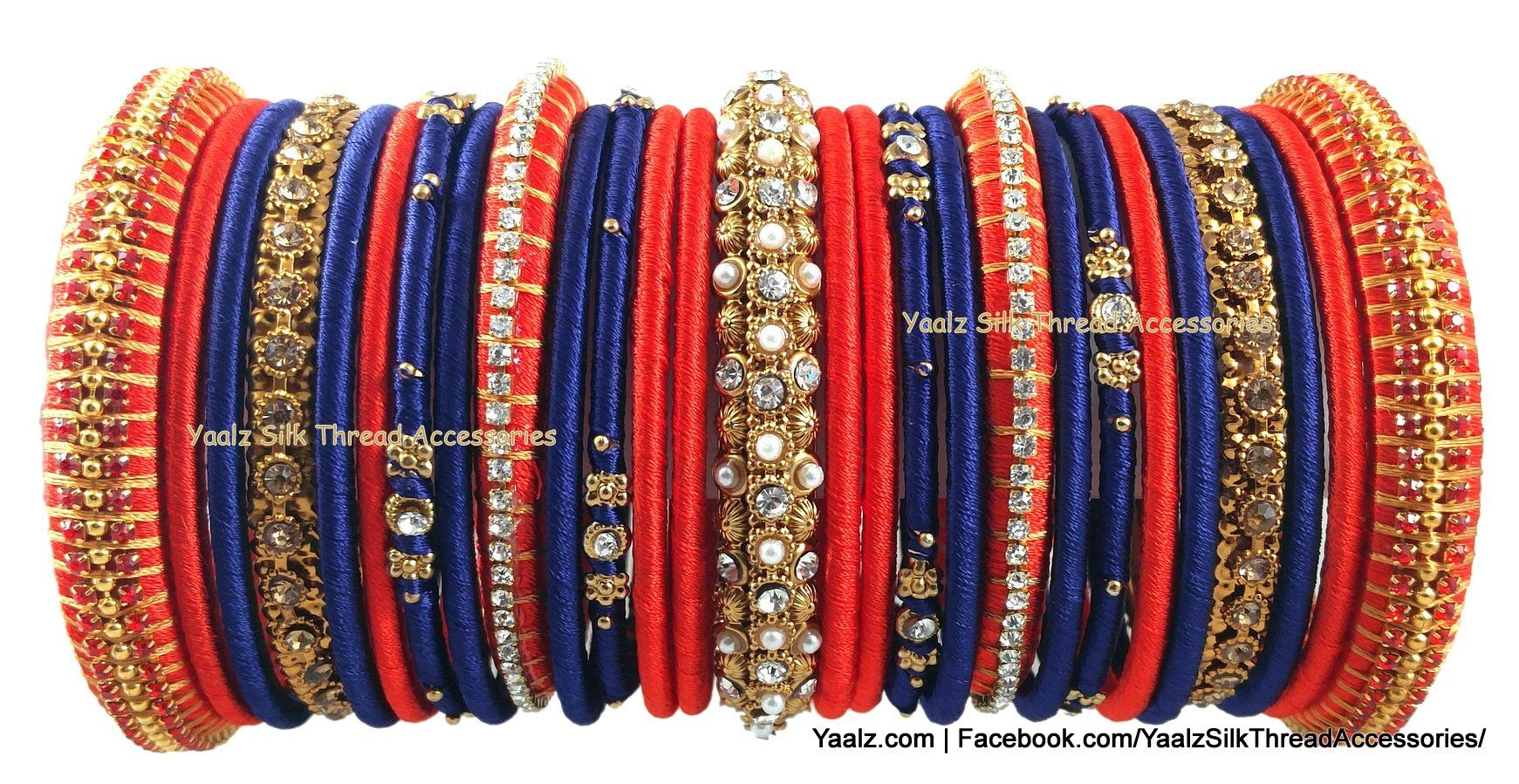 Yaalz Bridal Party Wear Bangle Set In Red Blue Colors Bangles Bangle Set Silk Thread Jewelry