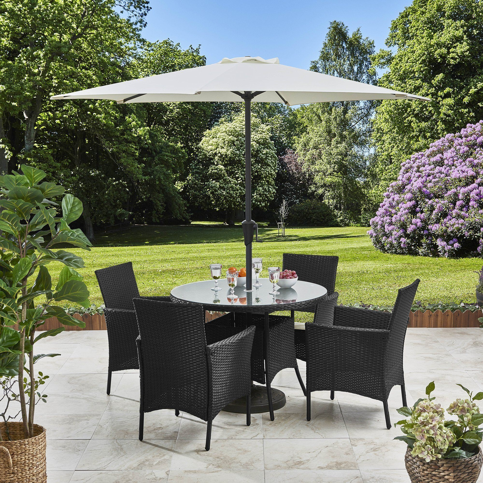Pre Order In Stock 01 03 May 4 Seater Rattan Round Dining Set With Parasol Rattan Garden Furnit Rattan Garden Furniture Round Dining Set Garden Furniture