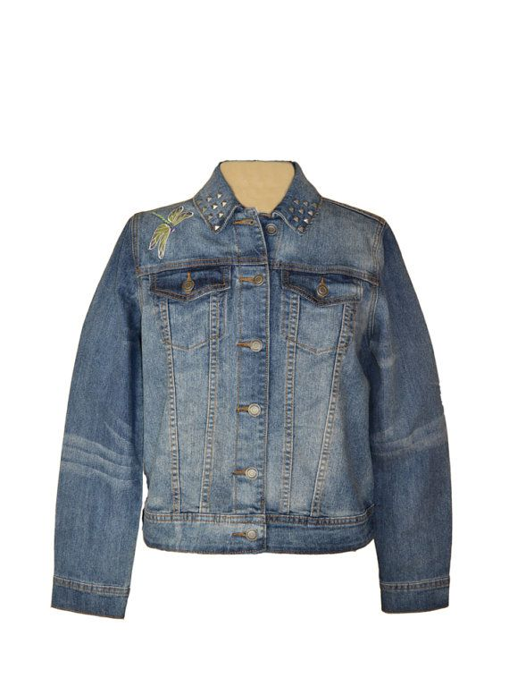 b366d3ed8bda0 This perching dragonfly has been embroidered to enhance the back of this denim  jean jacket by