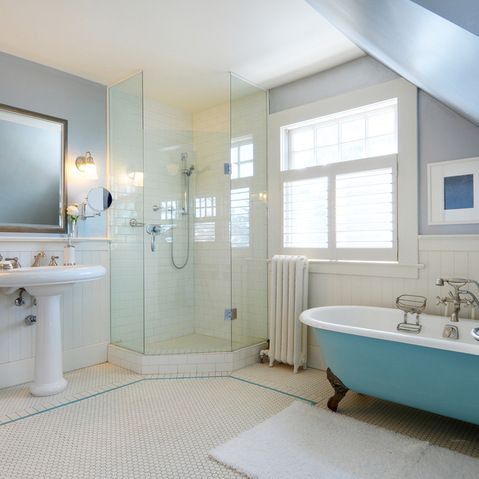 Glass Wall Shower Tub Beadboard Design Ideas, Pictures, Remodel and Decor