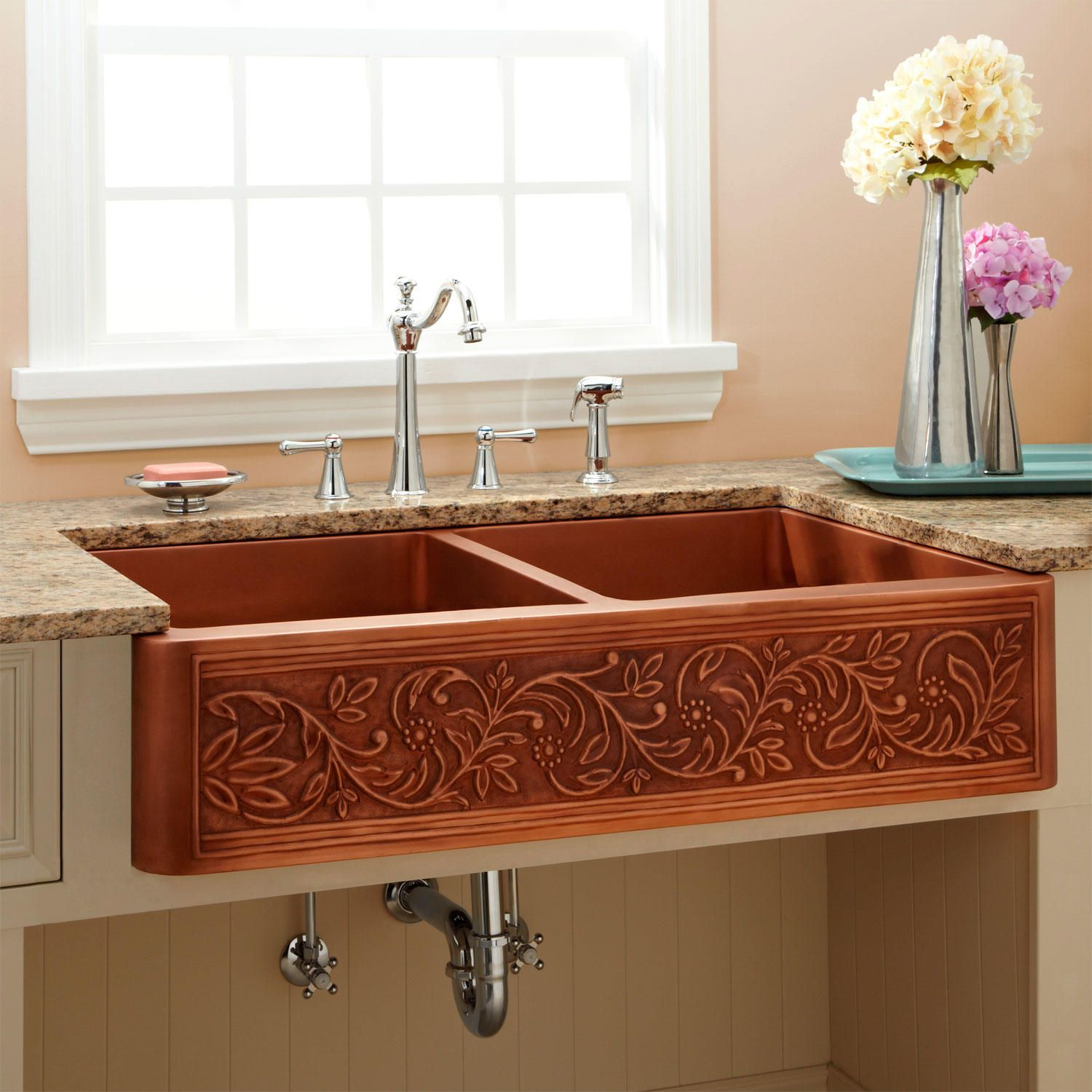 36 Quot Vine Design Double Bowl Copper Farmhouse Sink With