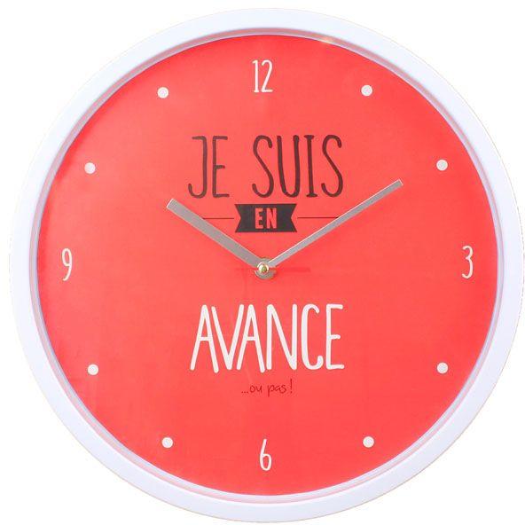 Horloge moderne 30 cm je suis rouge l 39 heure c 39 est l 39 heure pinterest clock et vintage for Horloge originale pas cher