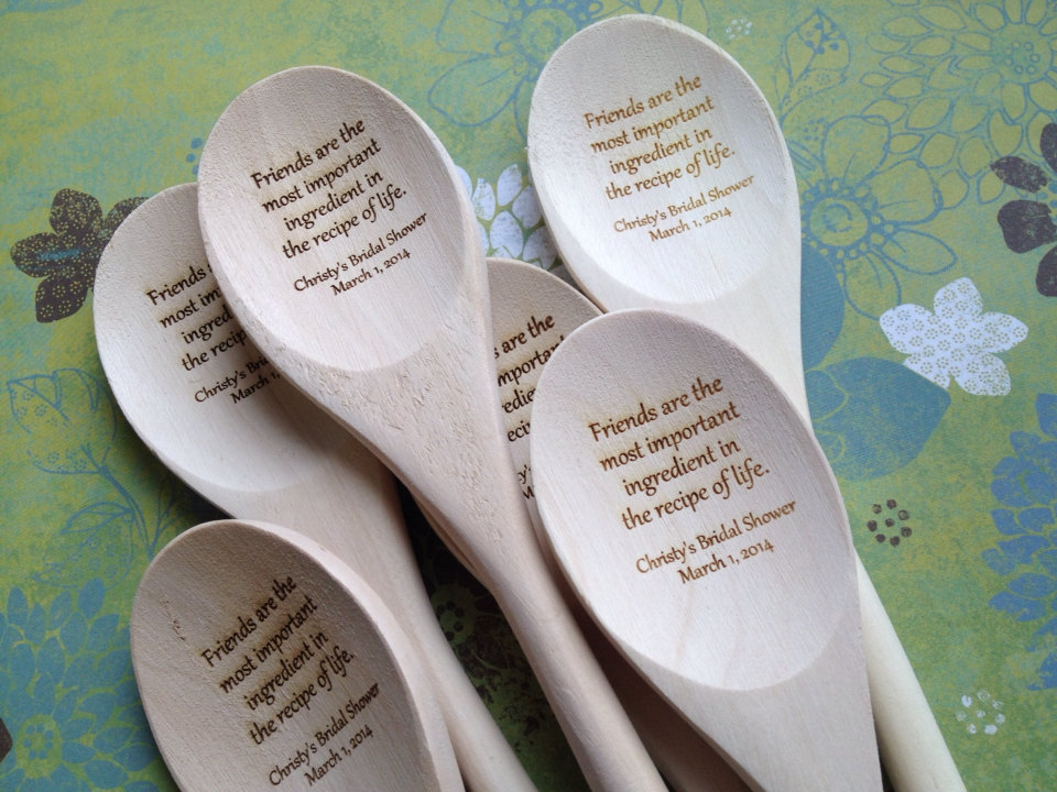 recipe themed bridal shower invitation wording%0A Engraved Wooden Spoon Bridal Shower Guest Book by decadentdesigns