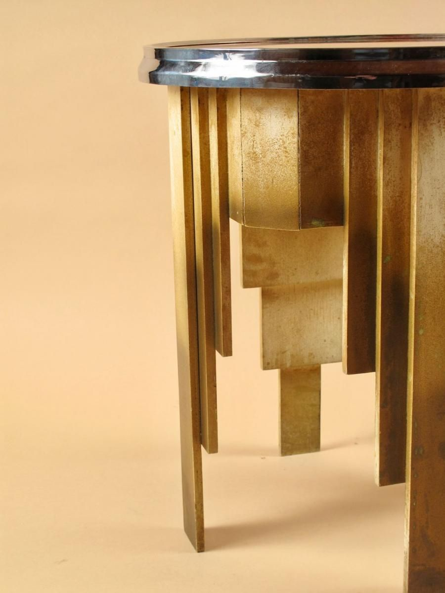 Table Basse Ronde Art Deco rare table basse ronde art déco peinte, circa 1920-1940
