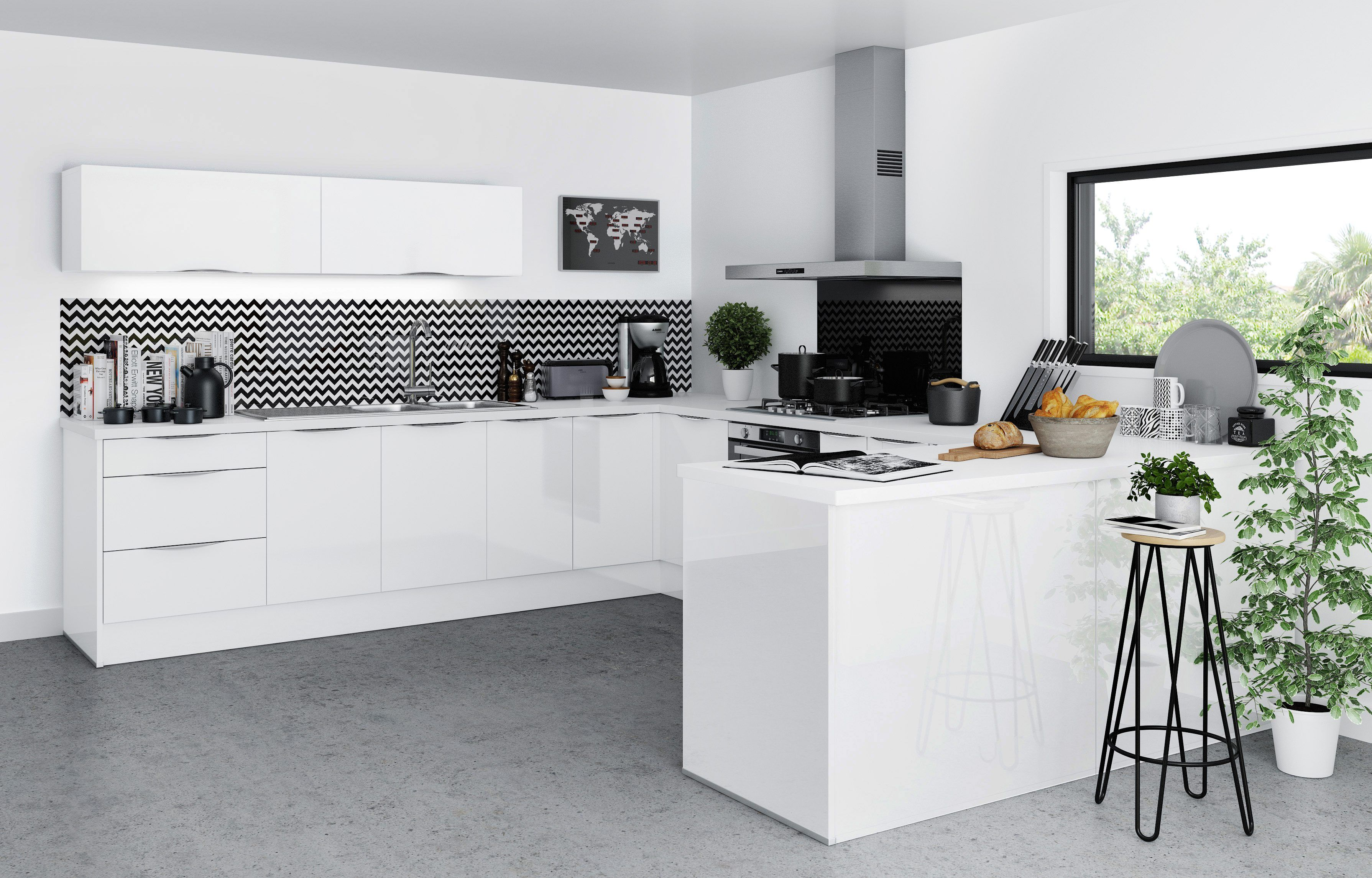 Cuisine SAGA blanc - BUT #moderne #design #laque #kitchen  Meuble
