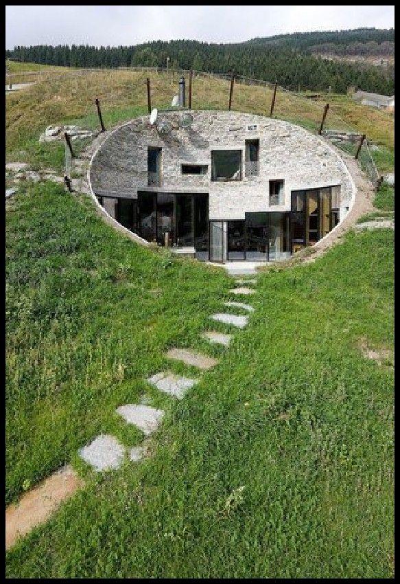 Unique Home Designs | unique house inside a hill far view ...