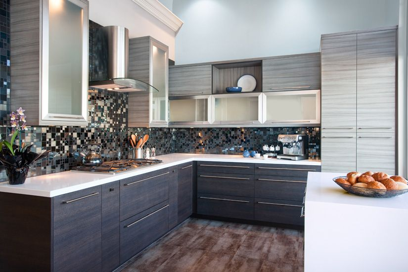 White Caesarstone, dark lower cabinets, light upper cabinets with ...