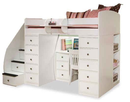 Spacesaver Bed space saver twin loft with two 5 drawer chests & shelves and a 3