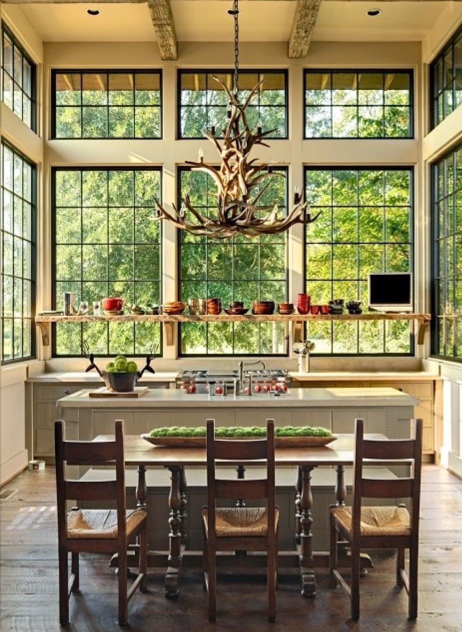 Conservatory country kitchen big windows like agrarian