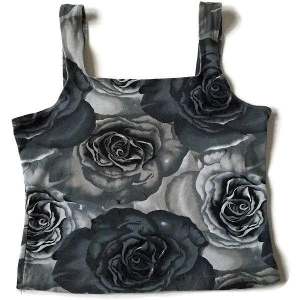90's Goth Black Rose Crop Top (105 BRL) ❤ liked on Polyvore featuring tops, crop tops, flower print tops, floral print tops, floral crop top, floral tops and floral print crop top
