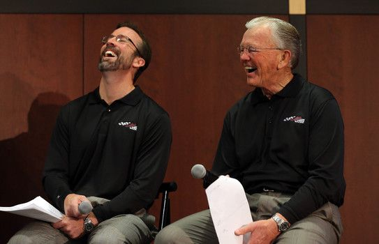 Joe Gibbs Racing: 2015 STP 500 preview - JD Gibbs (l) with father and team owner Joe Gibbs in happier times in 2013