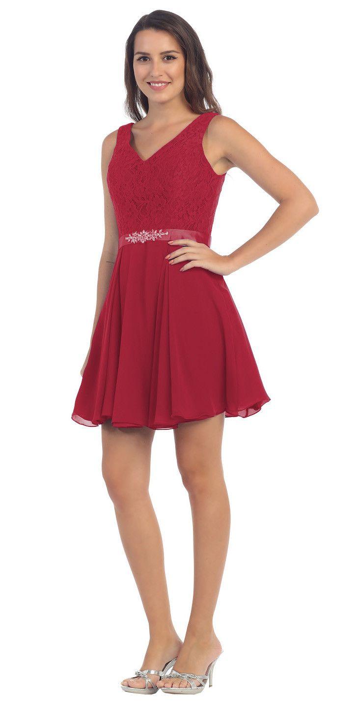 Starbox usa s sleeveless lace bodice vneck off white chiffon