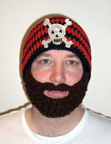 Pirate Beard Hat Red And Black Knit Crochet Beanie Baby Adult