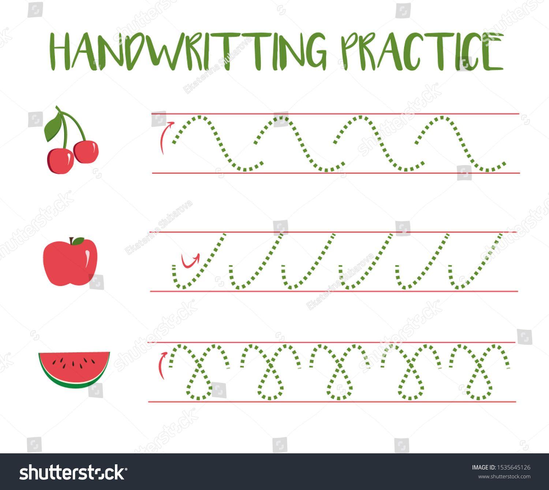 Handwriting Practice Sheet Draw A Path Fruits In Cartoon