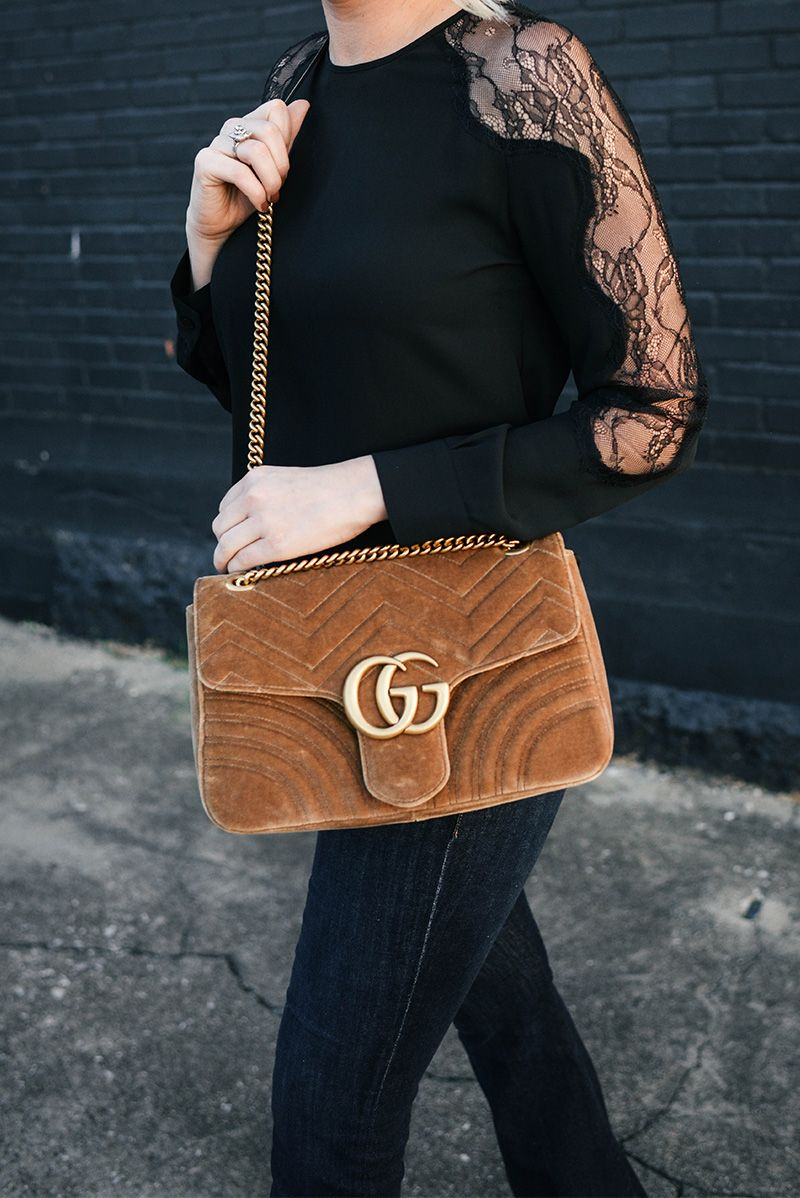 239aa1995 Gucci Medium Velvet Marmont Shoulder Bag in Camel | The Style Scribe ...