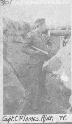 Captain CP James A & SH, Adjutant of the Liverpool Scottish, pictured in the trenches near Ypres (Ieper) in Spring 1915