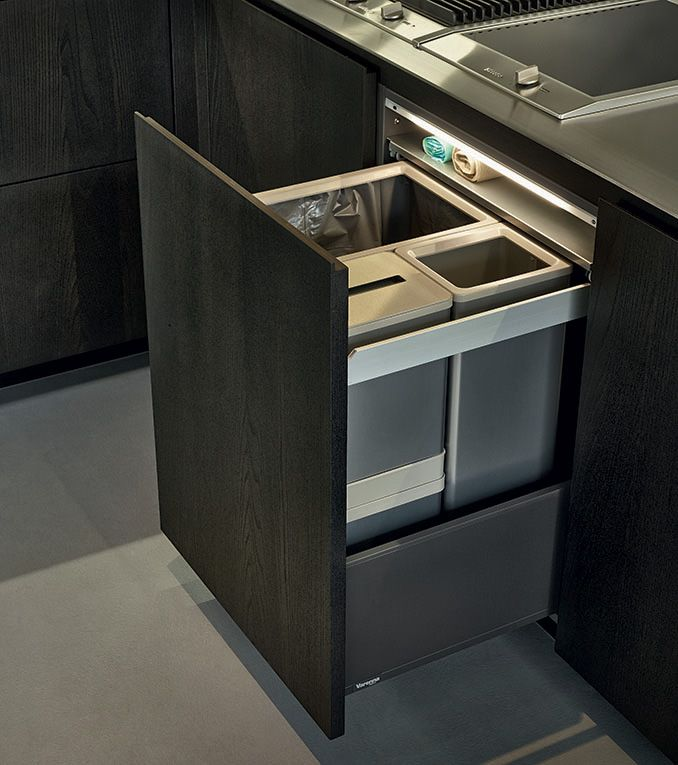 Dark Timber & Stainless Colour Combination / Drawer / Bin