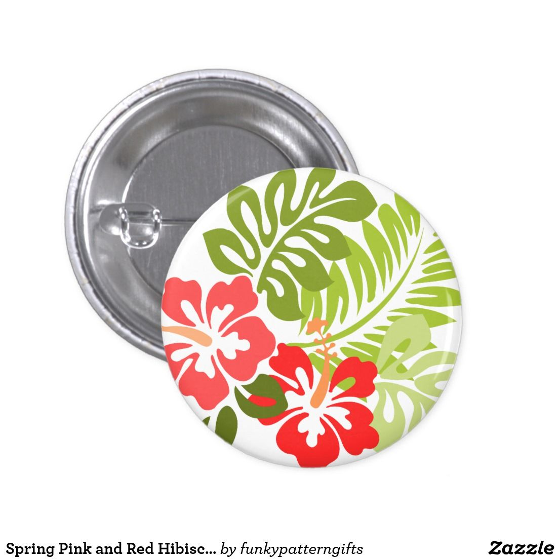 Spring pink and red hibiscus flowers hawaii 6 cm round badge spring pink and red hibiscus flowers hawaii 6 cm round badge izmirmasajfo