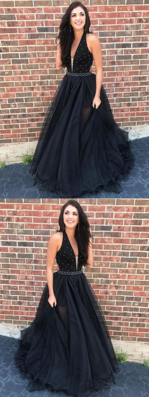 Charming ball gown v neck backless tulle black long prom dresses