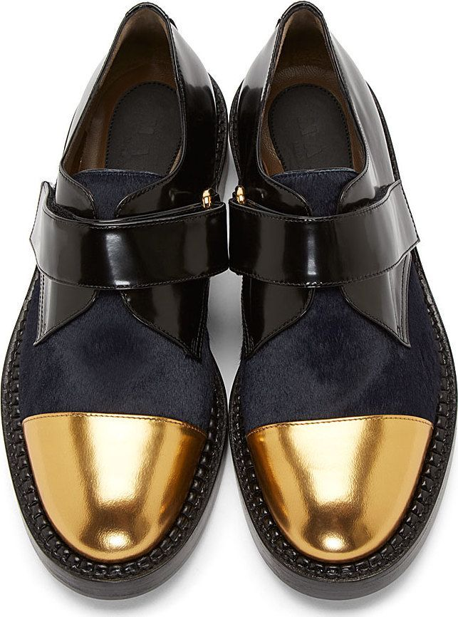 Marni Midnight Calfhair & Gold Toecap Derby Shoes #campcollection #adorn #glamrabbit