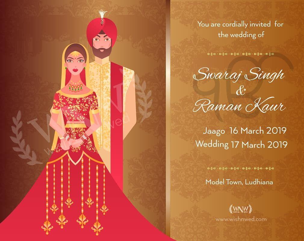 A Traditional Punjabi Themed Wedding Invitation For Punjabi Couple Wedding Invitation Cards Online Online Wedding Cards Wedding Invitations Online
