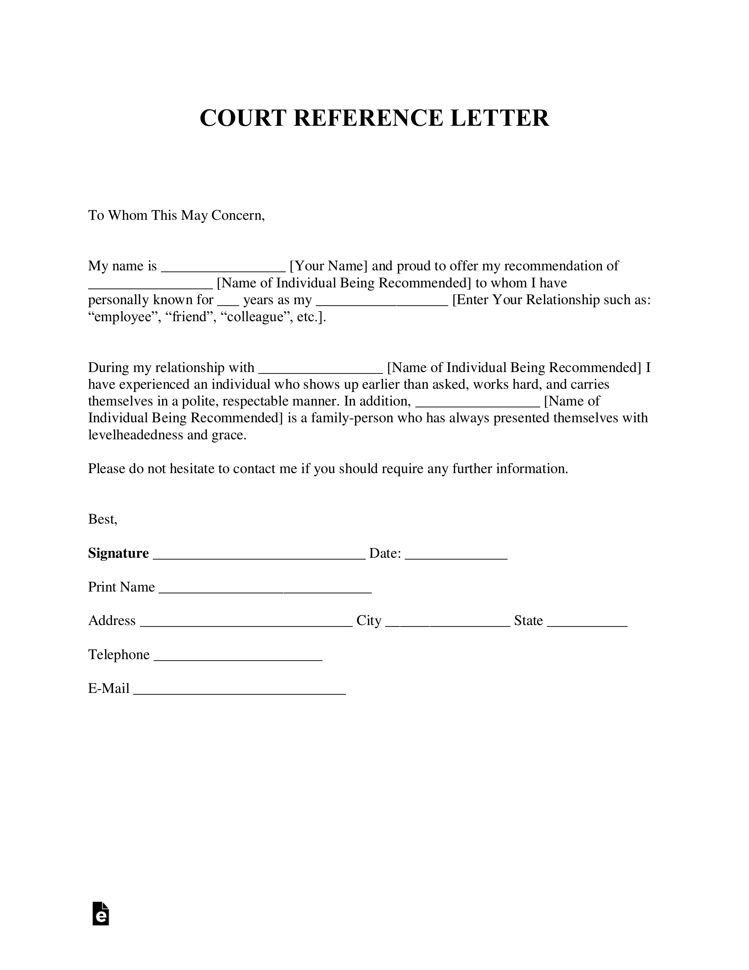Free Character Reference Letter (for Court) Template