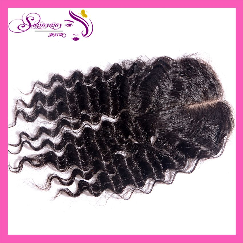 Cheap Silk Base Closures In Stock Peruvian Virgin Hair Deep Wave Middle Part Style Human Hair Silk Lace Closure