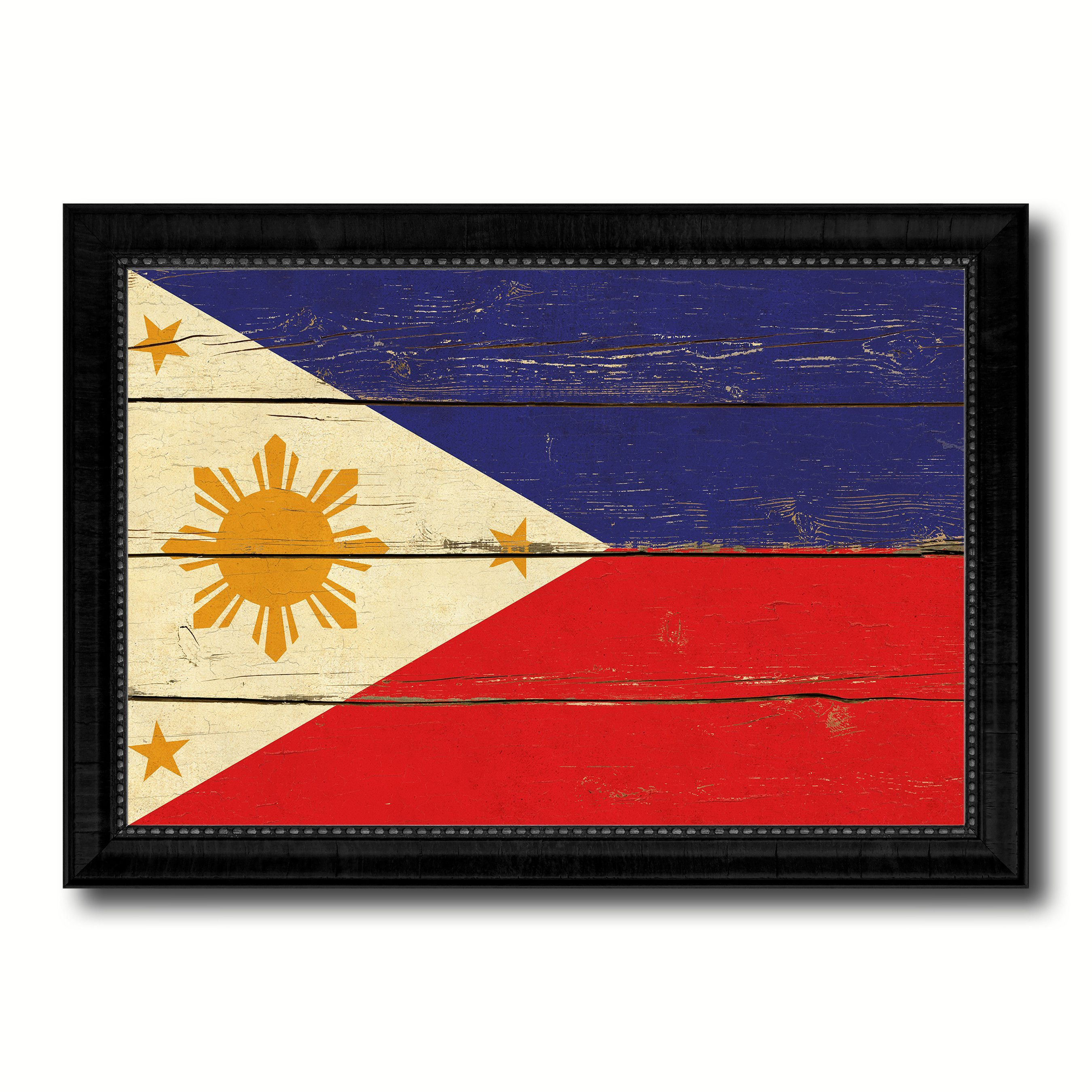 Philippines Country Flag Vintage Canvas Print with Black Picture ...