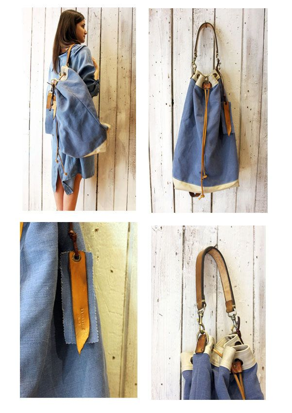 OCEAN SAC Handmade Italian Leather AND Canvas Backpack\tote di LaSellerieLimited su Etsy