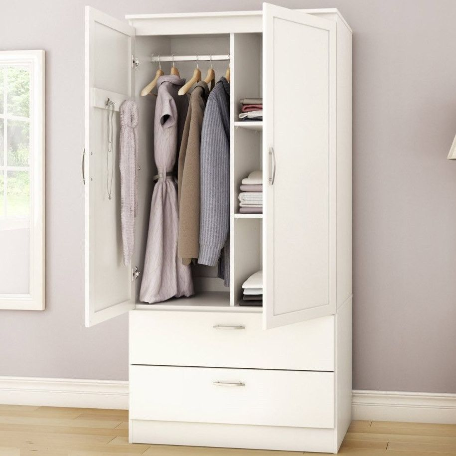 Charmant White Armoire Bedroom Clothes Storage Wardrobe Cabinet With 2 Drawers