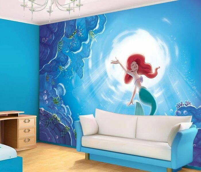Get Inspired To Create An Unique Bedroom For Little Girls With These Decorations And Furnishings Inspired By Mermaids Check Mo Disney Wall Murals Disney Bedrooms Little Mermaid Bedroom