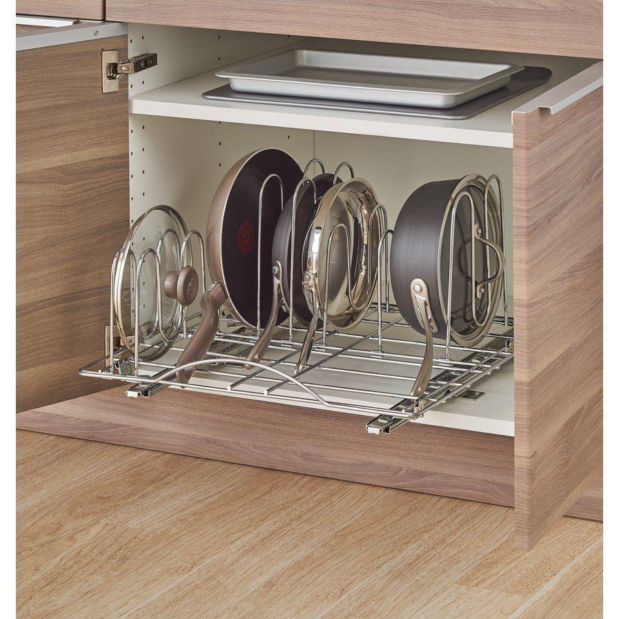 Sliding pot organizer pull out kitchenware divider kitchen