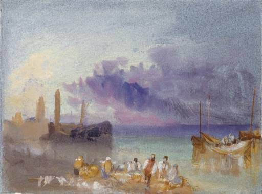 Joseph Mallord William Turner 'Harbour View', c.1826 - Bodycolour on paper -  Dimensions Support: 139 x 189 mm -  © The National Gallery of Scotland