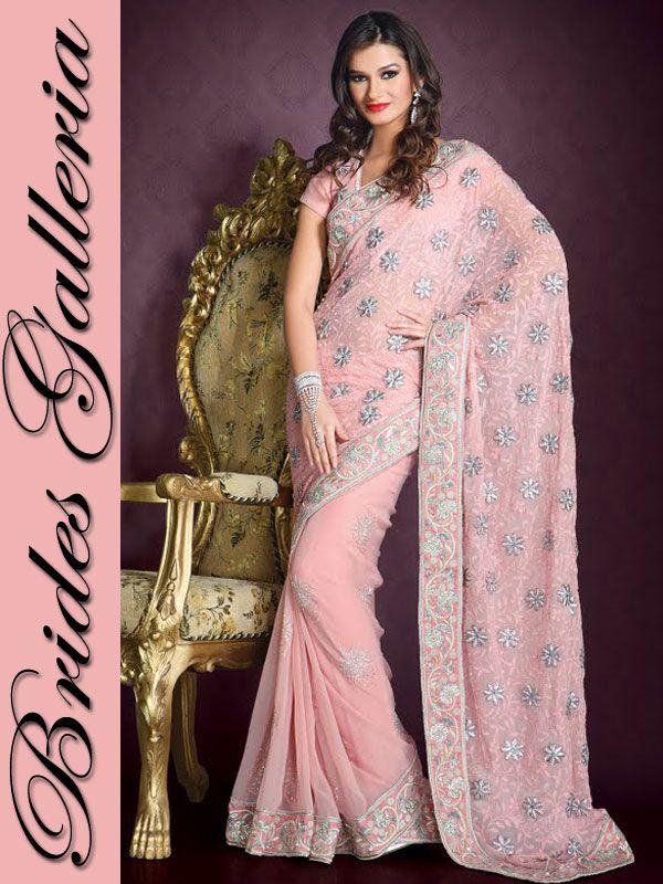 light sarees   Light Pink Faux Georgette Saree designer sarees ...