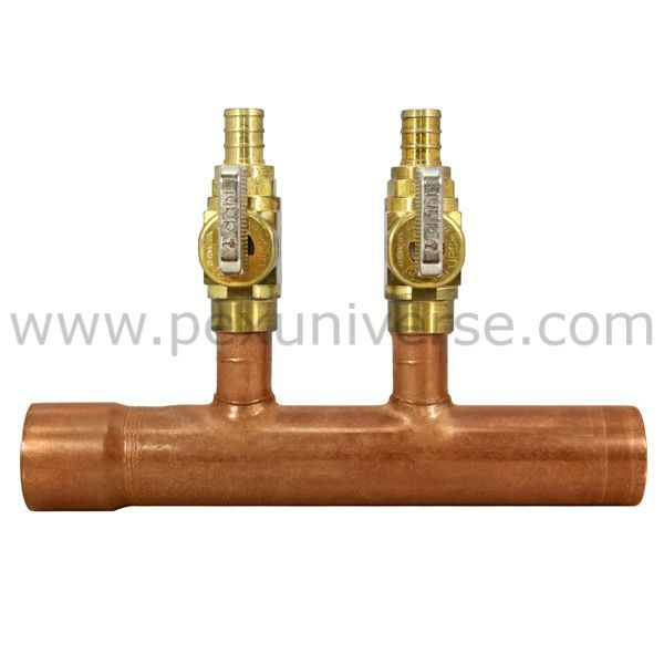 2 Port Copper Manifold With 1 2 Pex Valves 1 F X M Sweat Valve Port Copper