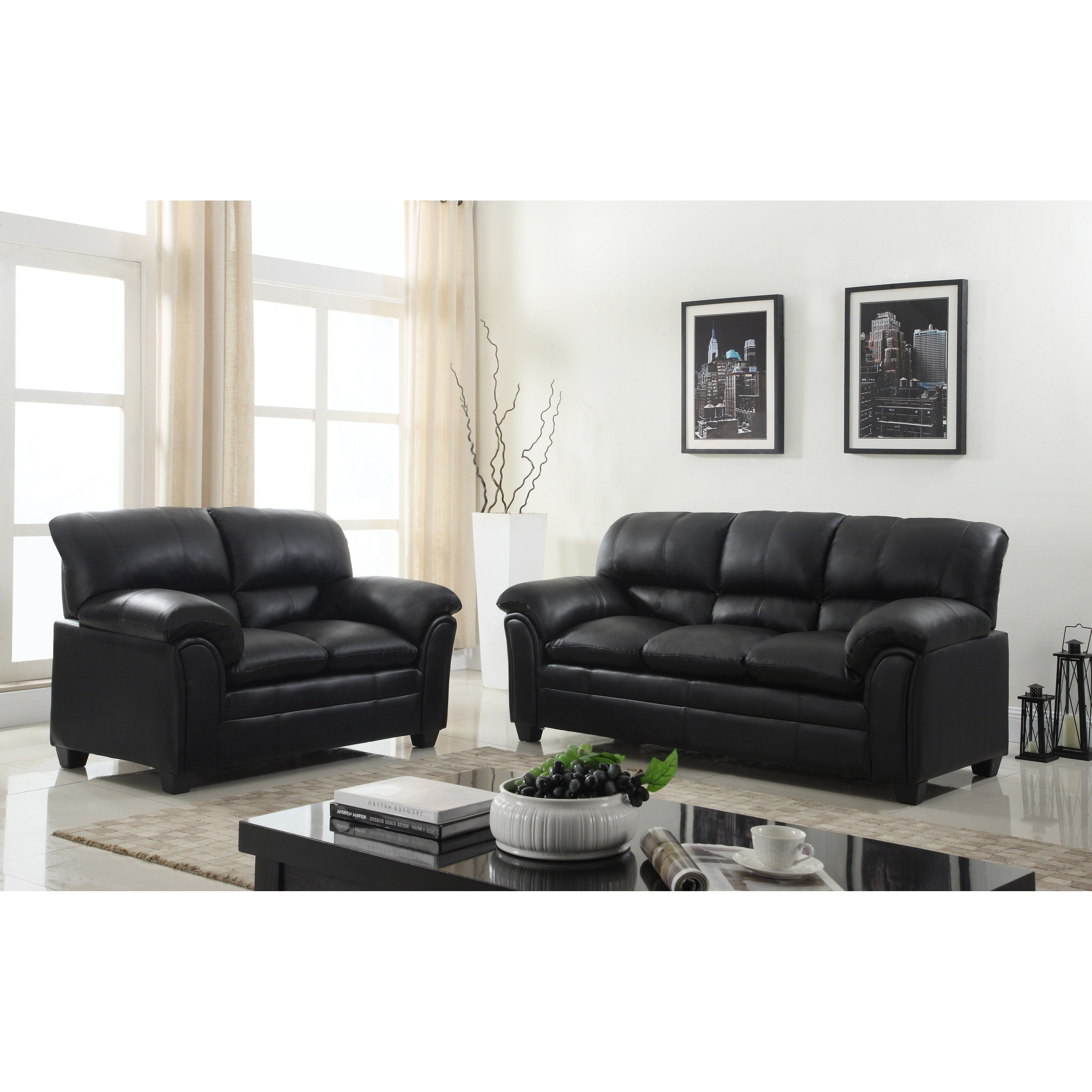 Joyce Black Leather Sofa Couch Loveseat Chair Tufted Living Room Set Leather Sofa And Loveseat 3 Piece Living Room Set Living Room Sets Furniture