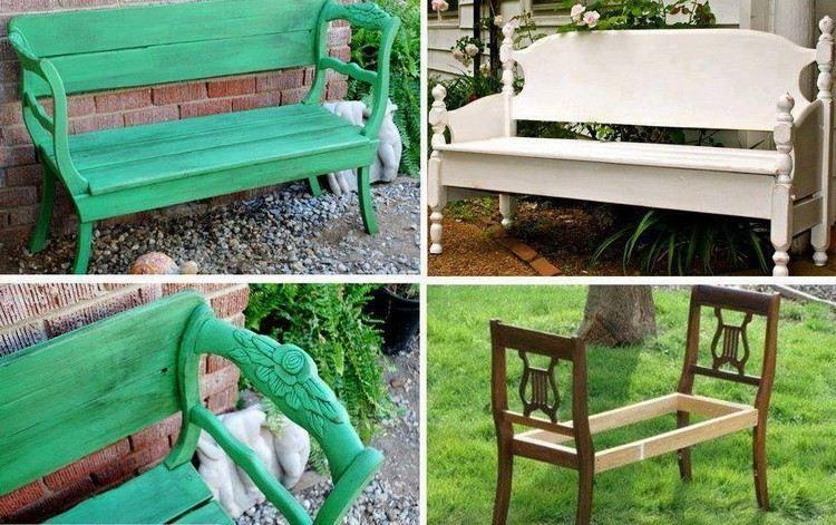 Eine Gartenbank Aus Zwei Alten Holzstühlen Bauen
