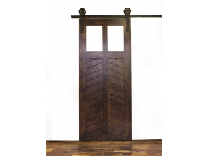 Ordinaire Best Place To Buy Barn Doors | Krosswood Knotty Alder Chevron 2 Panel 2  Lite Solid Core With Clear Tempered Glass Barn Door Slab