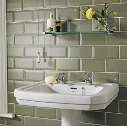 Olive green bathroom wale tiles compliments the yellow for Olive green bathroom ideas