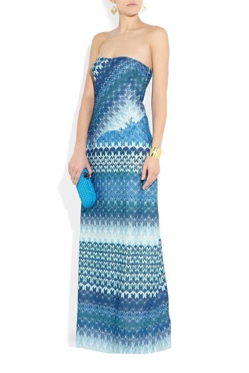 Missoni Metallic Seafoam Blue Crochet Knit Corset Evening Gown ...