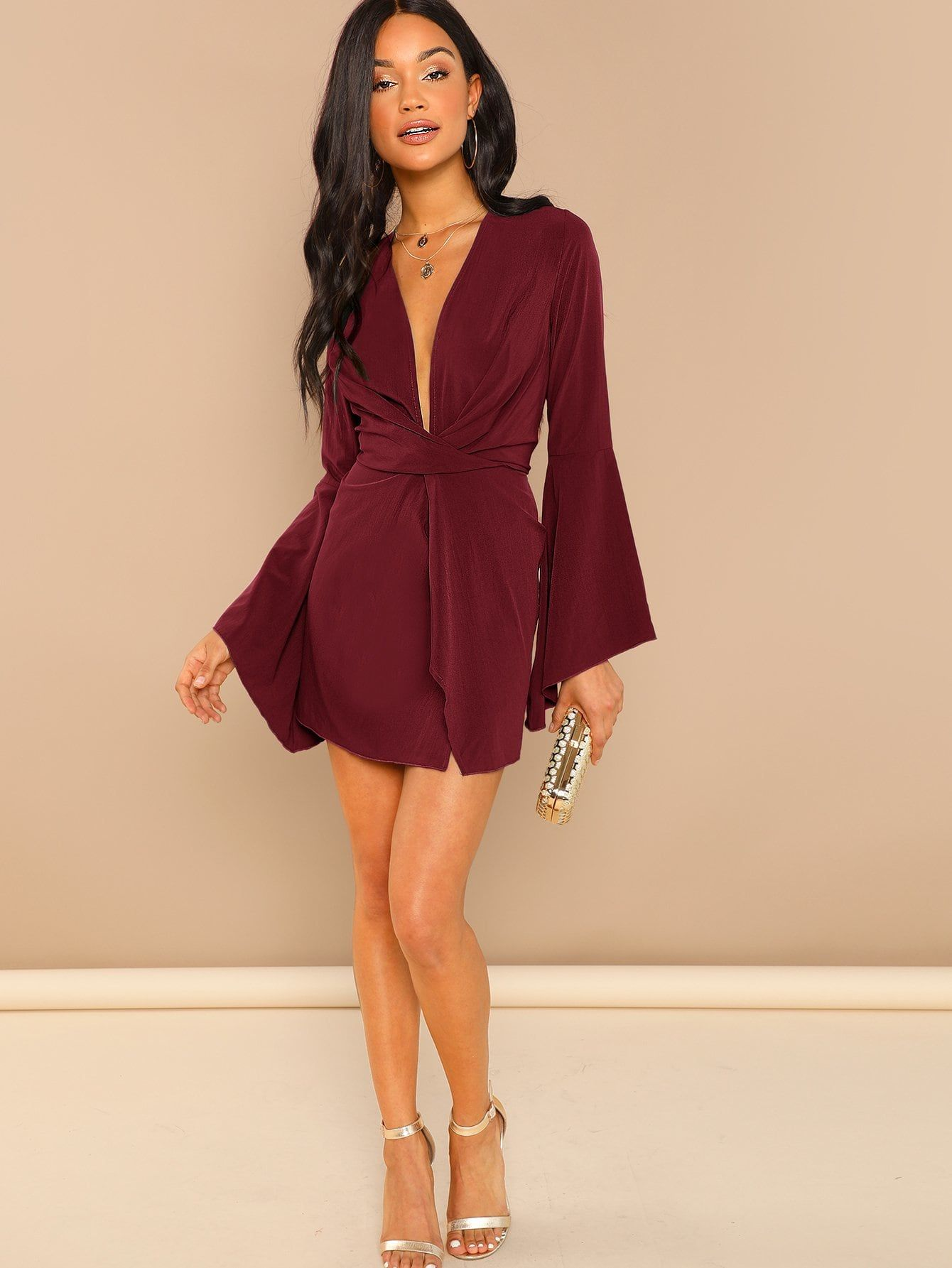 4758c0a7f5dc Party Plain Fit and Flare Deep V Neck Long Sleeve Flounce Sleeve Natural  Burgundy Short Length Plunge Neck Bell Sleeve Dress