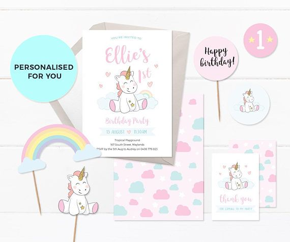 Create An Adorable Party With This PRINTABLE Unicorn Invitation Set Perfectly Suited For A First Birthday Or Any Childrens