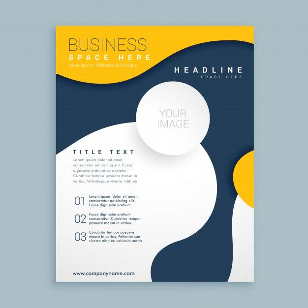 Download Blue And Yellow Brochure With Wavy Shapes For Free Leaflet Design Brochure Design Template Unique Brochure Design