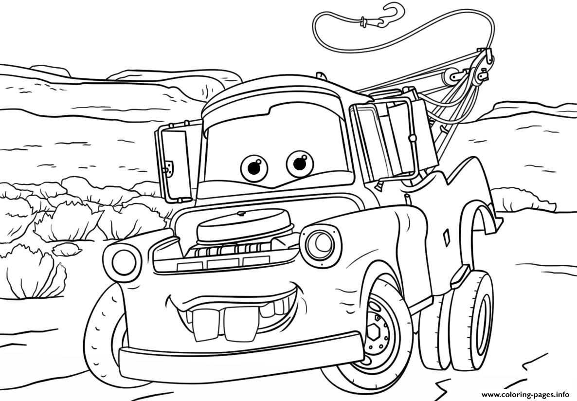 Tow mater from cars disney coloring pages printable