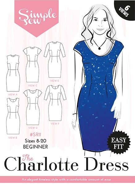 The Charlotte Dress sewing pattern by designer Simple Sew