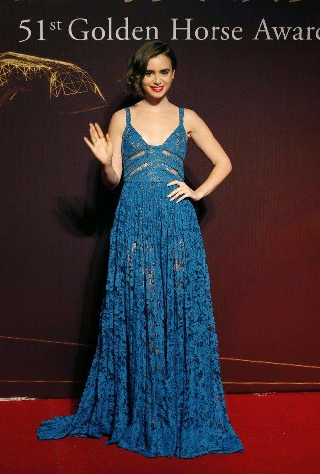 Hily Designs: Lily Collins  en la alfombra roja de los Golden Ho...