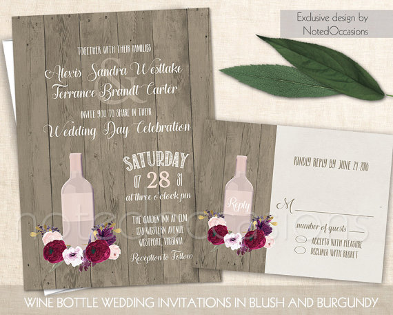 Vineyard Wedding Invitation Rustic Wine Bottle Suite