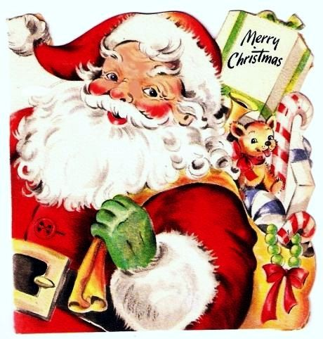 vintage christmas card santa claus sack of toys. Black Bedroom Furniture Sets. Home Design Ideas