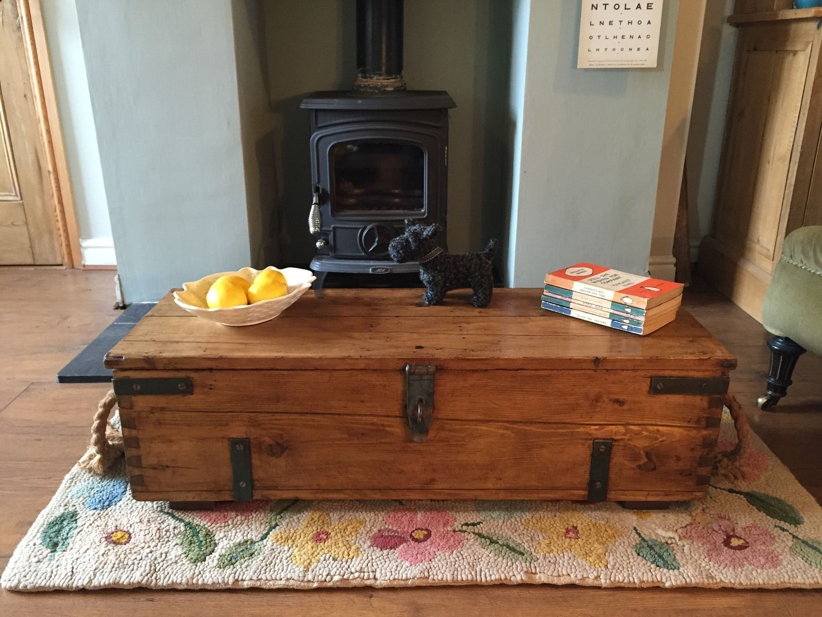 Pine Box Wooden Chest Coffee Table Toy Storage Trunk Vintage